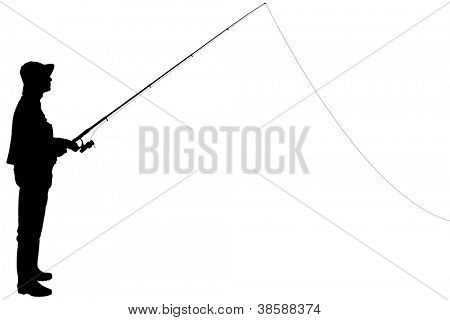 Silhouette of a fisherman holding a fishing pole isolated on white