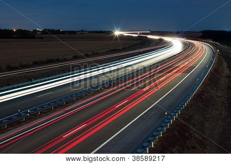 Night traffic on a highway