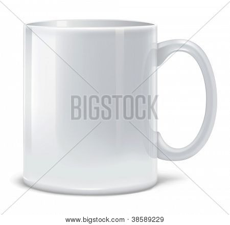 Vector illustration of white big cup