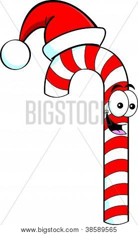 Cartoon candy cane wearing a Santa Hat