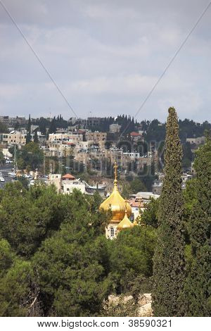 Christian Quarter in Jerusalem's Old City. Golden dome of the church of St. Mary Magdalene