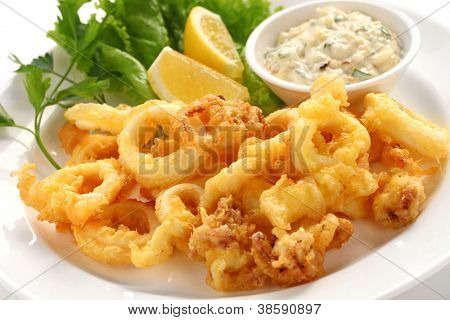 fried calamari, fried squid with tartar sauce