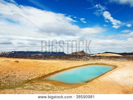 Viti is a beautiful crater lake of a turquoise color located on the North-East of Iceland, at Krafla geothermal area near the lake Myvatn HDR