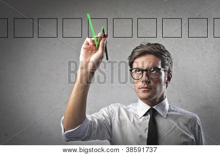 Businessman making an analysis