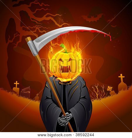 illustration of burning Halloween grim with pumpkin head