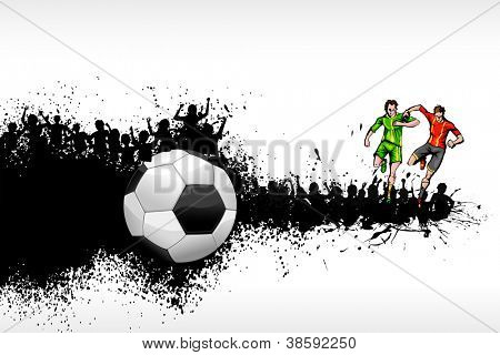 illustration of soccer player playing on grungy background