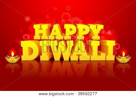 illustration of diwali wish with diya on abstract background