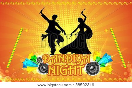 illustration of people playing garba in dandiya night