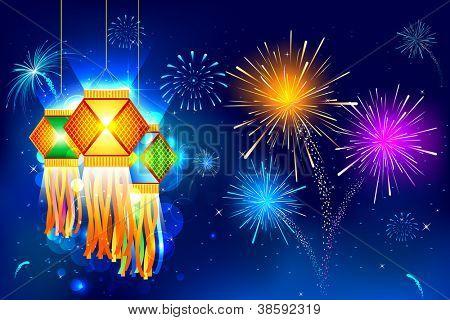 Ilustración de colgar linterna con fuegos artificiales en la noche de diwali