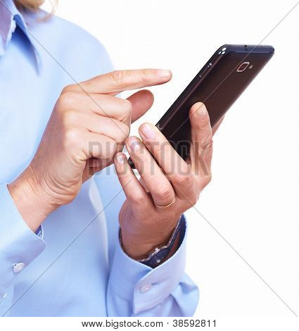 Hands of woman with a smartphone. Isolated on white.