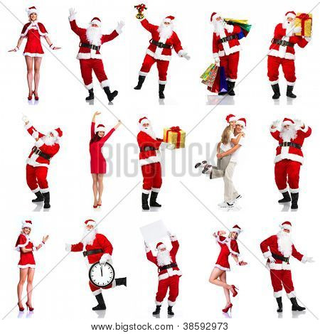 Happy Christmas Santa. Isolated over white background.