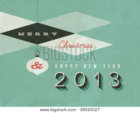 Vintage Christmas Card - Vector EPS10. Dirty effects can be easily removed for a brand new, clean design.