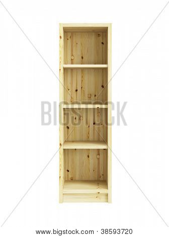 empty pine bookcase isolated 3d render