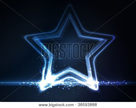 Overlying semitransparent stars with light effects form a blue glowing star frame on dark blue background. Space for your message