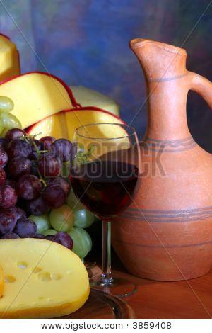 Cheese, Grape,  Wine.