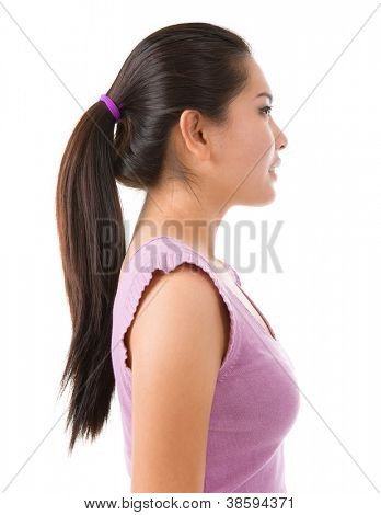 Side view of young Asian pretty lady on white background