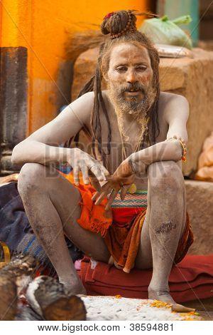 Naga Baba Sadhu Ash Covered Skin Varanasi