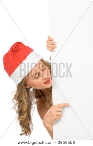 Blank Sign ñ Mrs Santa Claus (With Copy Space)