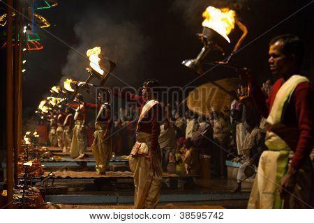 Fire Lantern Hindu Priest Pooja Prayers Varanasi