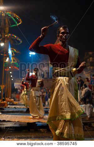 Varanasi Night Puja Brahmin Priest Facing Incense