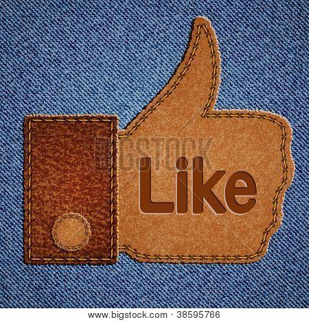 Como signo. Cuero Thumbs up símbolo sobre fondo de blue jeans. Ilustración de Vector eps10