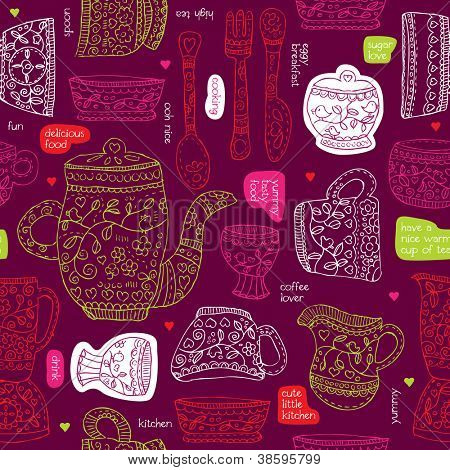 Seamless food drink kitchen drawing background pattern in vector