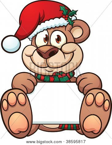 Cute Christmas bear holding a sign. Vector illustration with simple gradients. All in a single layer.