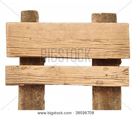 Old weathered wood sign isolated on a white background