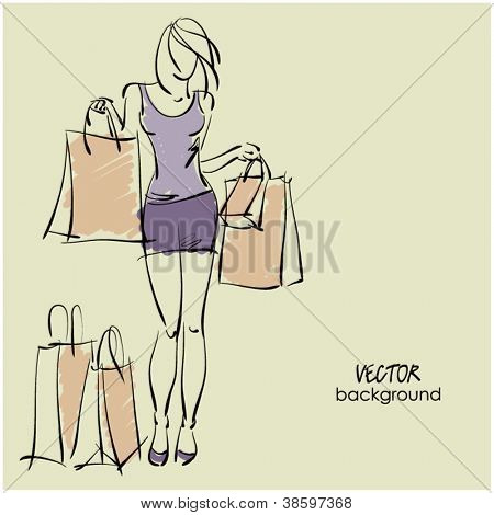 art sketching sale and shop background with young woman in short skirt and space for text