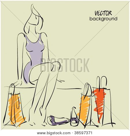 art sketching sale and shop background with tired young woman, shoes and space for text