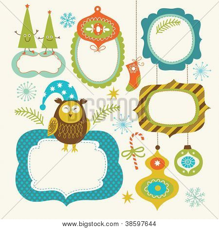Set of Christmas and New Year elements, cute frames for your text