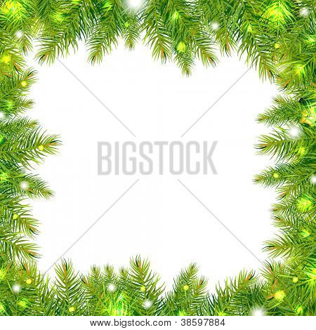 Christmas Tree Frame With Stars, Isolated On White Background, Vector Illustration