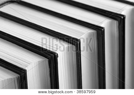 Row of books. Closeup view