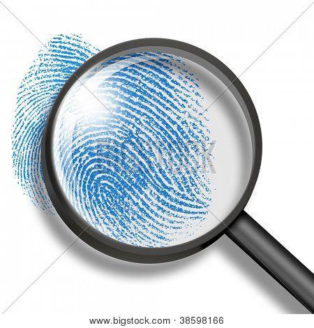 Fingerabdruck durch Lupe