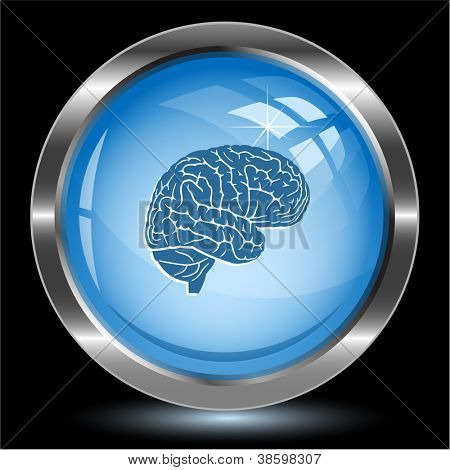 Brain. Internet button. Raster illustration.