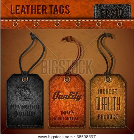 Leren tags set - EPS-10