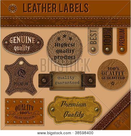 Conjunto de etiquetas de cuero colección - eps10