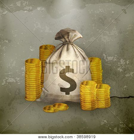 Stacks of coins and money bag, old-style vector