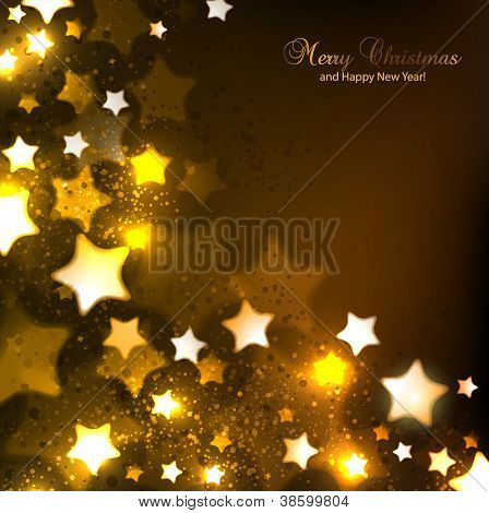 Elegant Christmas background with stars and place for text. Vector Illustration.
