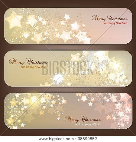 Set of Elegant Christmas banners with stars. Vector illustration