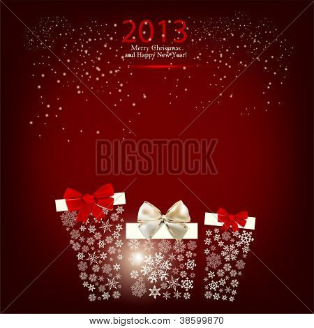 Elegant  Christmas background with gift boxes made from snowflakes. Vector  illustration