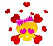 Day of The Dead skull and crossbones with hearts