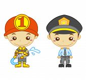 foto of truncheon  - A policeman and a firefighter isolated on white background - JPG