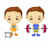 stock photo of weight lifter  - A hurdler runner and a weight lifter isolated on white background - JPG