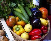 foto of farmers market vegetables  - Basket of fresh vegetables on market stall - JPG