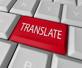 The word Translate on a red computer keyboard key or button to illustrate translation from one langu