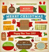 foto of mistletoe  - Set of vector Christmas ribbons - JPG