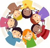 image of mans-best-friend  - Illustration of Kids Huddled Together in a Circle - JPG
