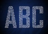 pic of byte  - Set of Circuit board style letters - JPG