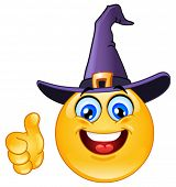 stock photo of witch ball  - Emoticon with witch hat showing thumb up - JPG